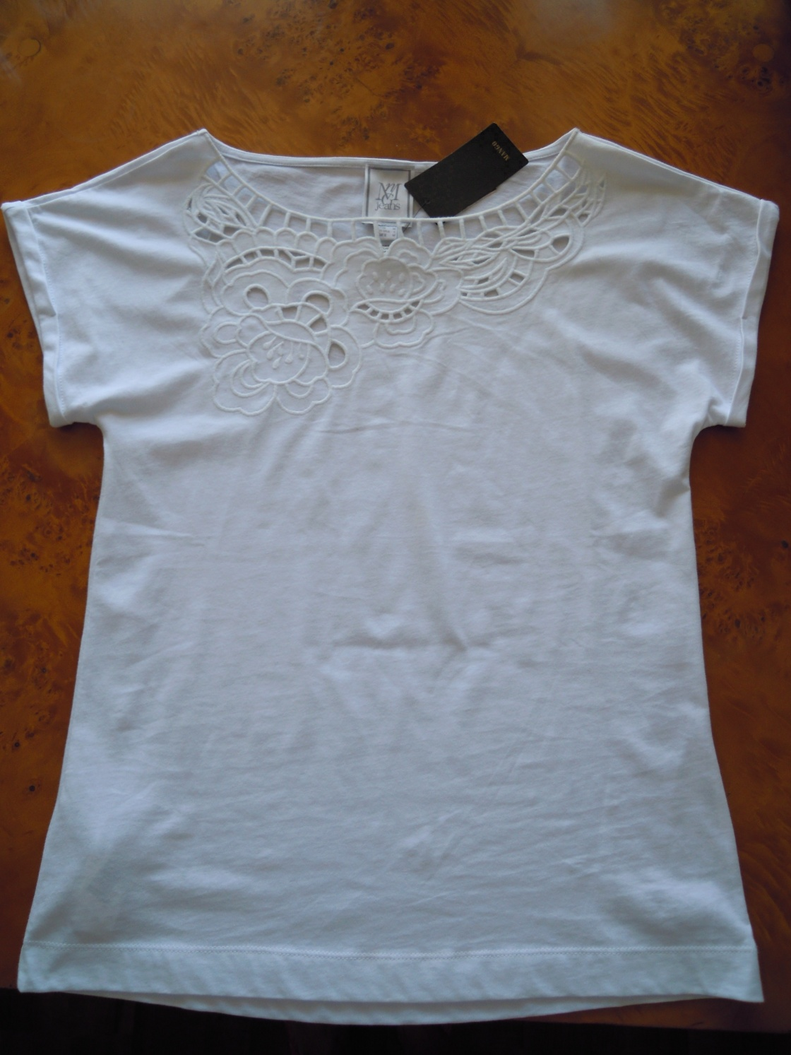 Mango white embroidered t-shirt